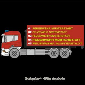 Schriftzug Folienplott (Feuerwehr Musterstadt)