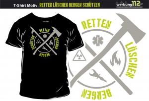 Motiv-Shirt T-Shirt (Motiv Retten Löschen Bergen Schützen)