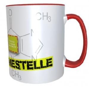Tasse (Motiv Koffeinentnahmestelle & eigenem Logo)